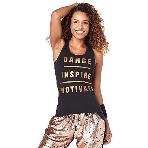Zumba Dance Fitness Schwarzes Tank Top Atmungsaktive Workout Racerback Sportkleidung Damen, Back to Black, L