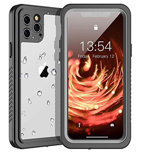 WOOQU iPhone 11 Pro Waterproof Case,iPhone 11 Pro Case Built in Screen Protector 360° Full Body Protective Shockproof IP68 Underwater Waterproof Case for iPhone 11 Pro 5.8inch(Black/Clear)