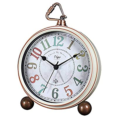 JUSTUP Silent Table Clock,5.2 in Retro Vintage Non-Ticking Desk Table Clock Small Decorative Alarm Clock Battery Operated with Large Numerals and HD Glass for Kids Sensors Indoor Decor(Arabic-C)