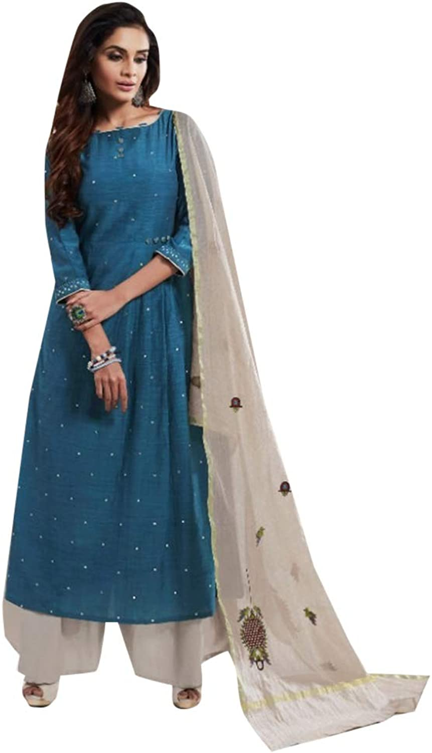 Cerulean Stylish Designer Bemberg Slub Palazzo Salwar Kameez Suit Indian Women Ethnic wear 7746