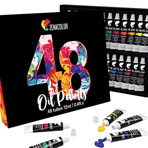 48 Tuben Zenacolor-Ölfarbe - Packung mit 48x12ml - Künstler Farben-Set in professioneller Qualität - Einzigartiges Künstler-Set mit 48 verschiedenen Farben - Ideal für Kinder oder Erwachsene