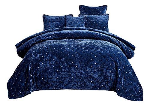 Tache Velvet Dreams Luxuriöses Velourssamt, superweicher Plüsch, warm, gemütlich, Rautenmuster, gesteppt, gesteppt, Königsblau, Tagesdecken-Set, California King