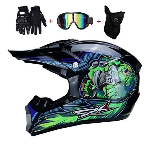 OUTLL Adulto Enduro MTB Motocross Casco, Cara Completa Off-Road Motocicleta Playa Carreras ATV Cuesta Abajo Quad Dirt Bike Estrellarse Casco, con Gafas Máscara Guantes, Dot Certificación