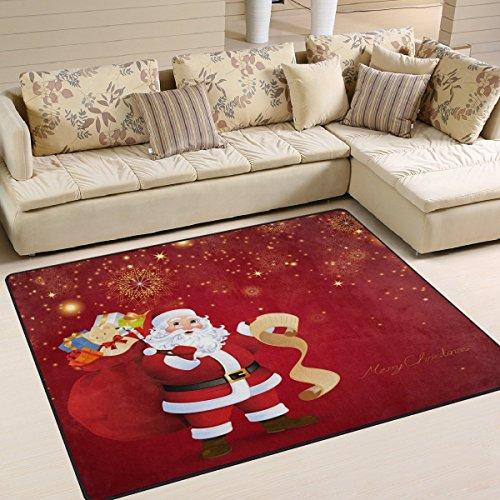 Domoko Tapis motif Père Noël et feu d'artifice pour salon, chambre à coucher, Tissu, multicolore, 160cm x 122cm(5.3 x 4 feet)