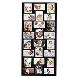 BELLE VOUS Cadre Photo Pêle-Mêle (24 Photos) - (6x4 inch Chaque Photo) Taille Totale (115x50cm) - Noirs en Bois Cadre Photo avec Plexiglass, Crochets, Vis, Chevilles Murales et Clé Allen pour Maison