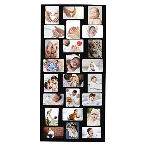 BELLE VOUS Marco de Fotos Collage (24 Fotos) - (6x4 Inch Cada Foto), Tamaño del Artículo (115 x 50cm) - Negro de Madera Marcos de Fotos con Plexiglás, Ganchos, Tornillos, Enchufes y Allen Llave