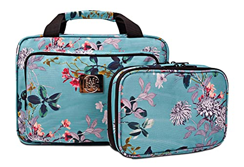 Set Of Large Hanging Travel Toiletry And Cosmetic Bag For Women and Jewelry Travel Organizer Bag With Many Pockets in Turquoise Flowers