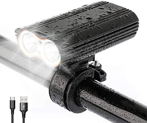 Baisix Fahrradlicht, 2000 Lumen, USB wiederaufladbar, 4 Modi, wasserdicht, Schnellverschluss, für Mountainbike, Rennrad, Taschenlampe