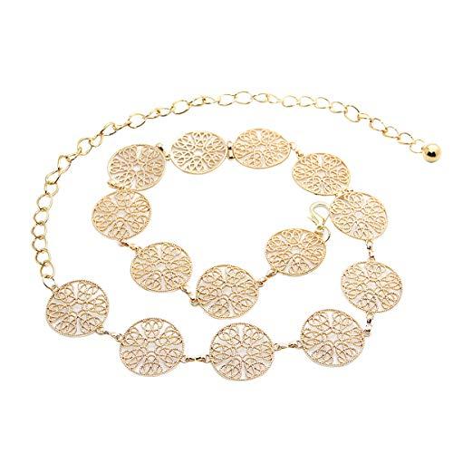LumiSyne Mode Kettengürtel Für Damen Vintage Durchbrochene Geschnitzte Metallring Taillengürtel Gold Silber Einstellbare Schnalle Langer Hüftgurt Kleid Gürtel Körperkette