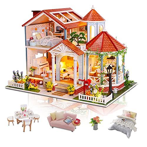 Cuteefun Casas de Munecas Madera en Miniaturas con Música y Muebles, Casas Miniaturas para Montar, Miniaturas para Manualidades, Regalo Original, Tiempo de Glaseado Coloreado