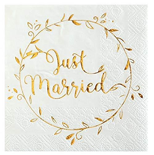 Hochzeits-Servietten Just Married weiß mit goldenem Druck - Cocktail-Serviette Hochzeit/Hochzeits-Deko/Tisch-Dekoration Hochzeit (40 Servietten)