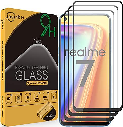 Jasinber 3 Piezas Mica Vidrio Cristal Templado Protector de Pantalla Compatible con Realme 7