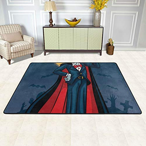 Furry Kids Rugs 72 X 48 Inch Area Rug for Girls Bedroom Nursery Play Room Luxury Fashion Vampire Fangs Black Red (7) Carpet for Living Room Home Decor Dinning Room