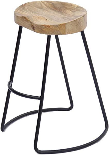 The Urban Port Wooden Saddle Seat Barstool With Metal Legs Small Brown And Black