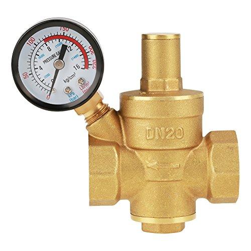 Válvula de reducción de presión de agua ajustable de latón con manómetro, DN20, 1