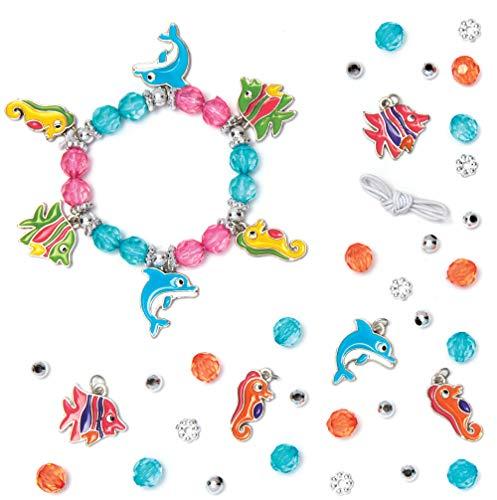 """Baker Ross Bettelarmband-Bastelsets """"Meerestiere"""" (3 Stück) – für Kinder zum Basteln von Armbändern (Perlen, Anhänger und elastische Schnur enthalten) Sortiert"""