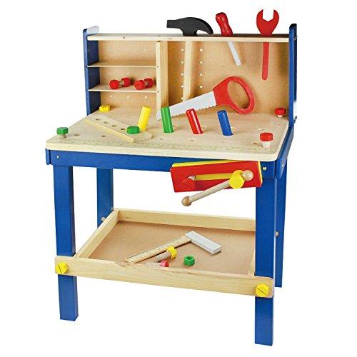Leo & Emma - Spielwerkbank aus Holz Blau, 50tlg Werkbank für kleine Kinder aus Holz - Hochwertig hergestellt und lackiert