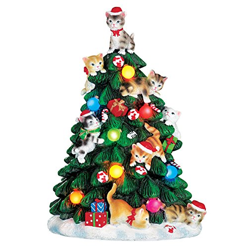 Collections Etc Color Changing Lighted Cat Christmas Tree Figurine