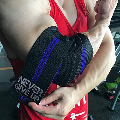 HYFAN Professionelle Ellenbogenbandagen mit elastischen Bändern, Stützschutz für Gewichtheben, Workout, Bodybuilding, Fitnessstudio, Fitness (Doppelstreifen, dunkelblau)