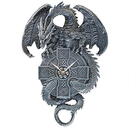 Design Toscano The Celtic Timekeeper Sculptural Dragon Wall Clock, greystone