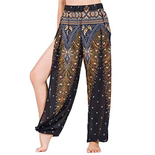 Lofbaz Pantalones De Yoga Harem De Corte Alto para Mujer Pijamas De Salón Sexy Pantalones Deportivos De Maternidad De Playa Peacock 1 Negro y Oro L