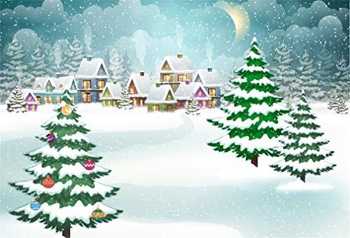 Yeele 10x8ft Winter Snowfall Backdrop Cartoon Xmas Town Snowflake Night Moon Background for Photography Kids Children Adult Photo Booth Shoot Vinyl Studio Props