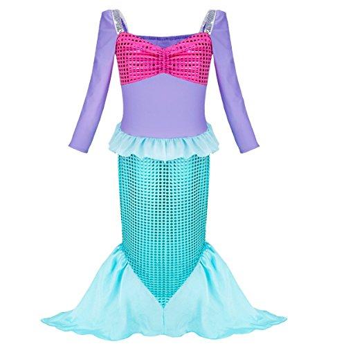 IEFIEL Costume de Sirène Déguisement Petite Sirène Cosplay 3-12 Ans Purple & Vert 5-6 Ans