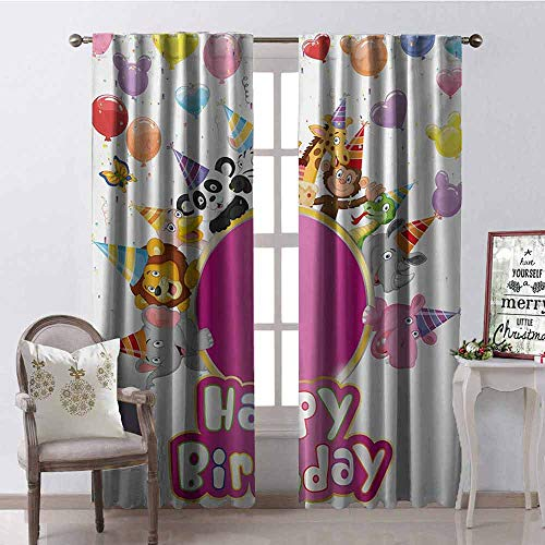 Big Save! Tapesly Kids Birthday Shading Insulated Curtain Baby Safari Jungle Animals with Party Cone...