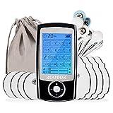ROOTOK Électrostimulateur Musculaire TENS, soulagement des douleurs, Massages, 16 programmes de Massage + 8 électrodes