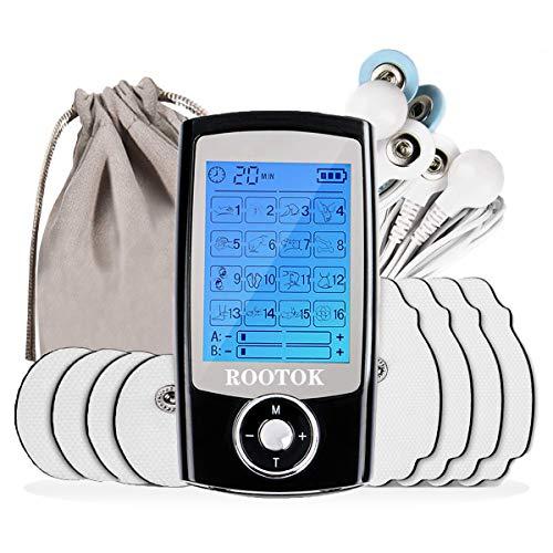 ROOTOK TENS Elettrostimolatore Muscolare Professionale con 8 elettrodi,canali A/B,16 Programmi