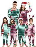 Aibrou Kinder Weihnachten gestreift Schlafanzug lang Rundhals Xmas Pullover Pyjama Set, Langarm Shirt und Pyjamahose Grün XL
