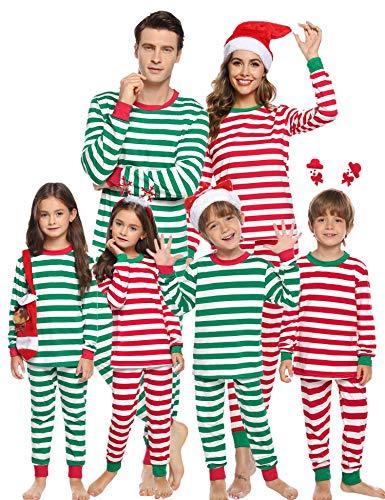 Aibrou Pijamas de Navidad Familia Conjunto Algodón,Raya Ropa de Dormir Casual Otoño Invierno Mujere Hombre Niños