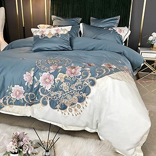 Set di biancheria da letto matrimoniale stile palazzo copripiumino in puro cotone leggero lusso estivo lenzuolo in seta ghiaccio rosa biancheria da letto delicata sulla pelle-B_1.8m letto (4