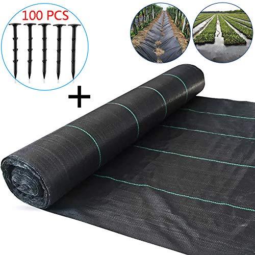 ZDYLM-Y Unkrautbekämpfung Stoff Bodendecker Membrane, Robuster Landschaftsstoff aus Polypropylen + 100 Unkrautmembranstifte,1mx200m+100 pegs