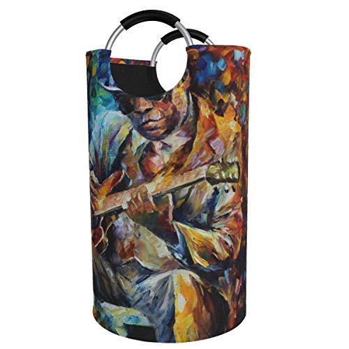 N\A Cesta de lavandería Grande de 82 l, Pintura al óleo Jazz Singer Cesta de lavandería de Tela Plegable, Bolsa de Ropa Plegable, Cesta de Almacenamiento Plegable para lavadero