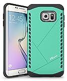 JKase Canvas Delgado de Protección Dual Protección de la Capa Funda Carcasas para Samsung Galaxy S6 Edge Plus (Verde)