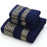 SENFEISM Toallas de baño Juego de Toallas de algodón para Adultos Toalla de Mano de 2 Caras 1 Toalla de baño Toalla de baño de Color sólido Azul Blanco