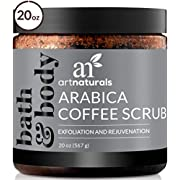 ArtNaturals Arabica Coffee Body Scrub (20 Oz / 567g) – Exfoliating Facial Treatment for Varicose Veins, Cellulite, Stretch Marks Spider Vein - Deep Skin, Butt, legs and Face Sugar Exfoliator with Caffeine