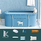 Bañera plegable portátil para adultos, 120 cm, no inflable, baño familiar,...