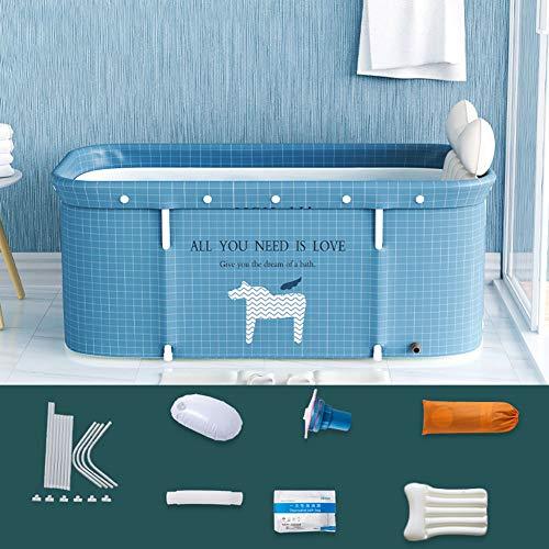 Bañera plegable portátil para adultos, 120 cm, no inflable, baño familiar, independiente, bañera de vapor, spa, plástico grueso, ideal para baño de agua caliente y baño de hielo, apta para ducha