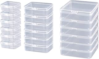 ODOOKON 18 Pcs (3 Sizes) Rectangle Mini Clear Plastic Storage Containers Box Case with lid for Items,Pills,Herbs,Baby Products, Bead, Jewelry, and Other Small Items