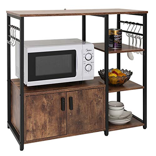 IWELL Kitchen Baker's Rack with 1 Cabinet and 8 Hooks, 4-Tiers Kitchen Storage Cart Table, Microwave Oven Stand, Utility Storage Cabinet with Metal Frame, Rustic Brown ZWJ001F