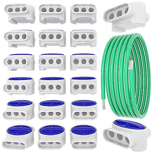 kanoo® Kabelverbinder für Mähroboter - 20x Verbindungsklemmen + 1m Kabel – praktisches Set fürs Verlegen und Reparieren von Begrenzungsdraht für Mähroboter aller gängigen Marken