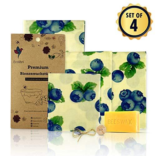 Ecolibri - Premium Bienenwachstücher Bio mit extra Beschichtung- Hochwertig und Nachhaltig - Extra Wachs beschichtete Frischhaltefolie im 4-er Set inkl. Wachsblock.