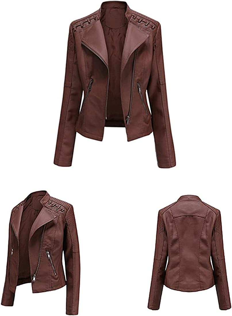 SJDHS Women Leather Jacket Perfectly 100% quality warranty! Sales results No. 1 Faux Shaping