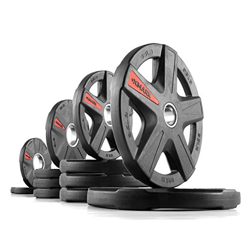 XMark Texas Star 135 lb Set Olympic Plates, Patented Design, One-Year Warranty, Olympic Weight Plates