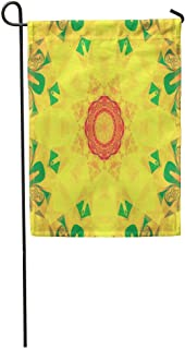 "zhurunshangmaoGYS 12""x 18"" Garden Flag Abstract Gold Kaleidoscopical for Vj Disco Trance Meditation Unique and Inimitable Home Outdoor Decor Double Sided Waterproof Yard Flags Banner for Party"