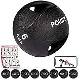 Medizinball mit Griffen Profi 3 - 10 kg von POWRX   schwarz Gewichtsball Studioqualität   schwarz...