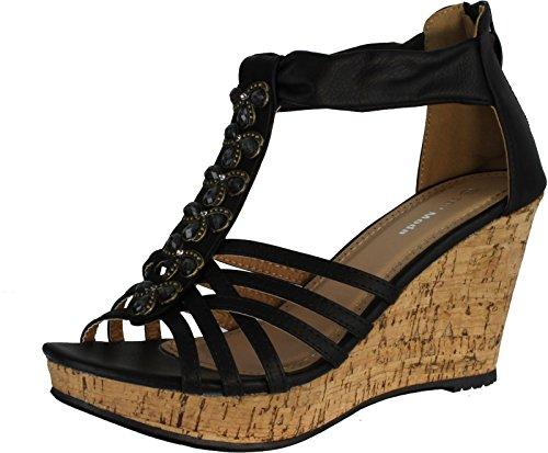 TOP Moda DS6 Womens Platform Strappy Open Toe Rhinestone Wedges Black 9