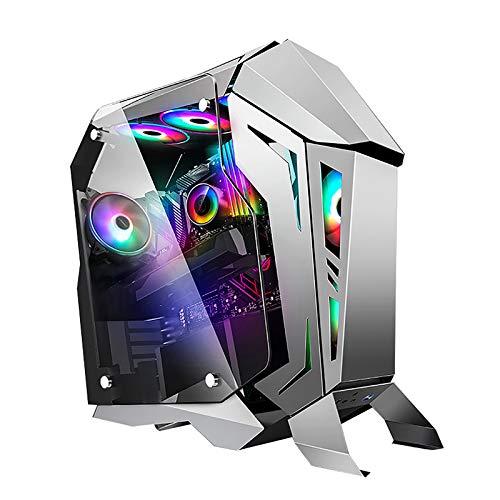 XINKO Caja ATX, chasis para Juegos de PC, Carcasa compacta para computadora con Panel de Vidrio Templado, 6 Ventiladores preinstalados, Listo para refrigeración por Agua